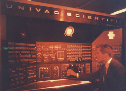 Walt Flood at the console of the Univac Computer in 1956